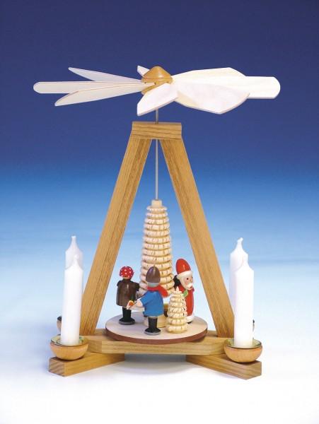 Weihnachtspyramide Weihnachtsmann mit Striezelkinder, 23 cm, Knuth Neuber Seiffen/ Erzgebirge