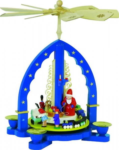 Weihnachtspyramide Weihnachtsbescherung, blau, 27 cm, Richard Glässer GmbH Seiffen/ Erzgebirge