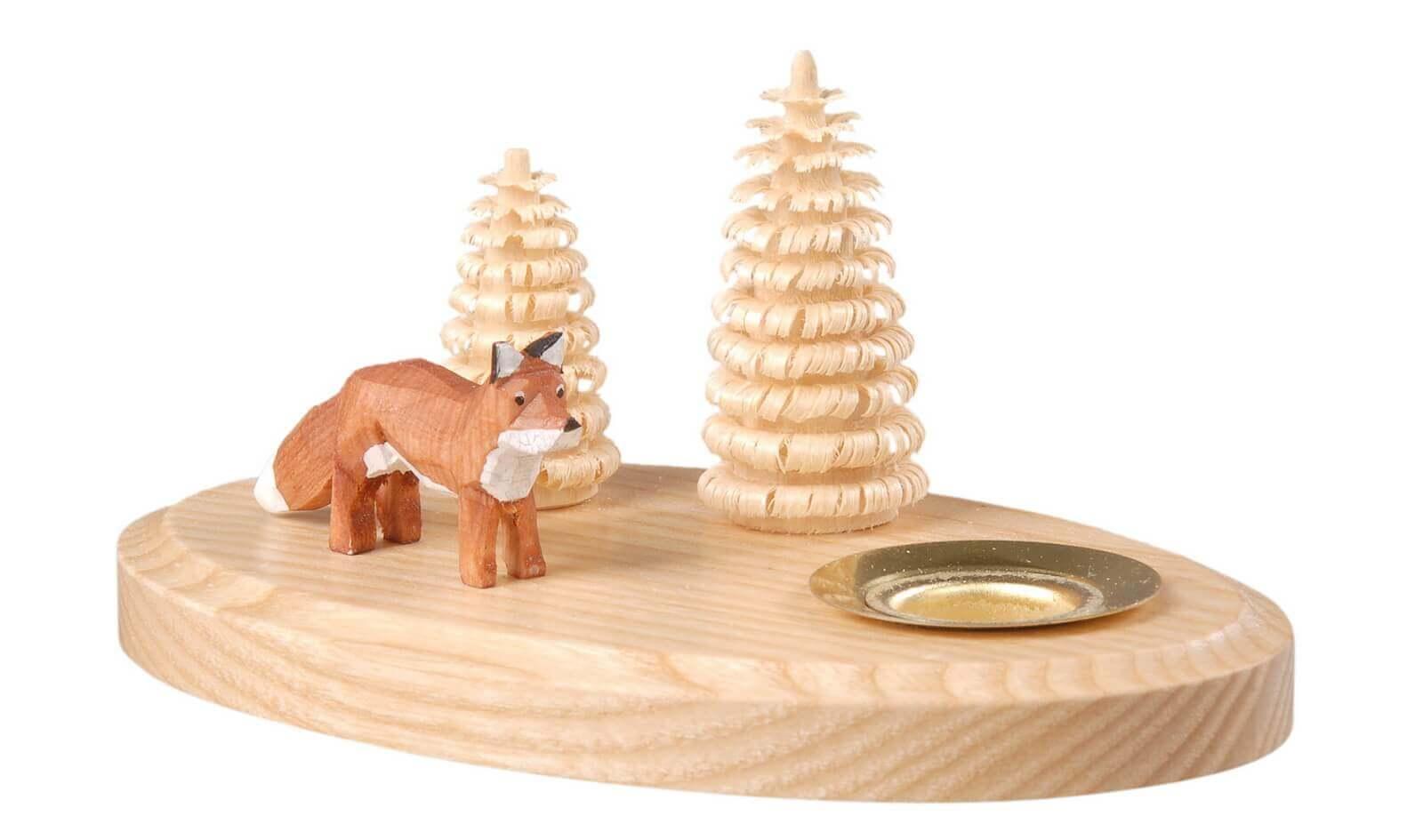 Kerzenhalter mit Fuchs hergestellt von Albin Preißler