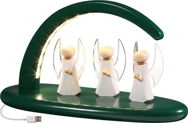 moderner, schlichter LED Schwibbogen in grün mit Engel