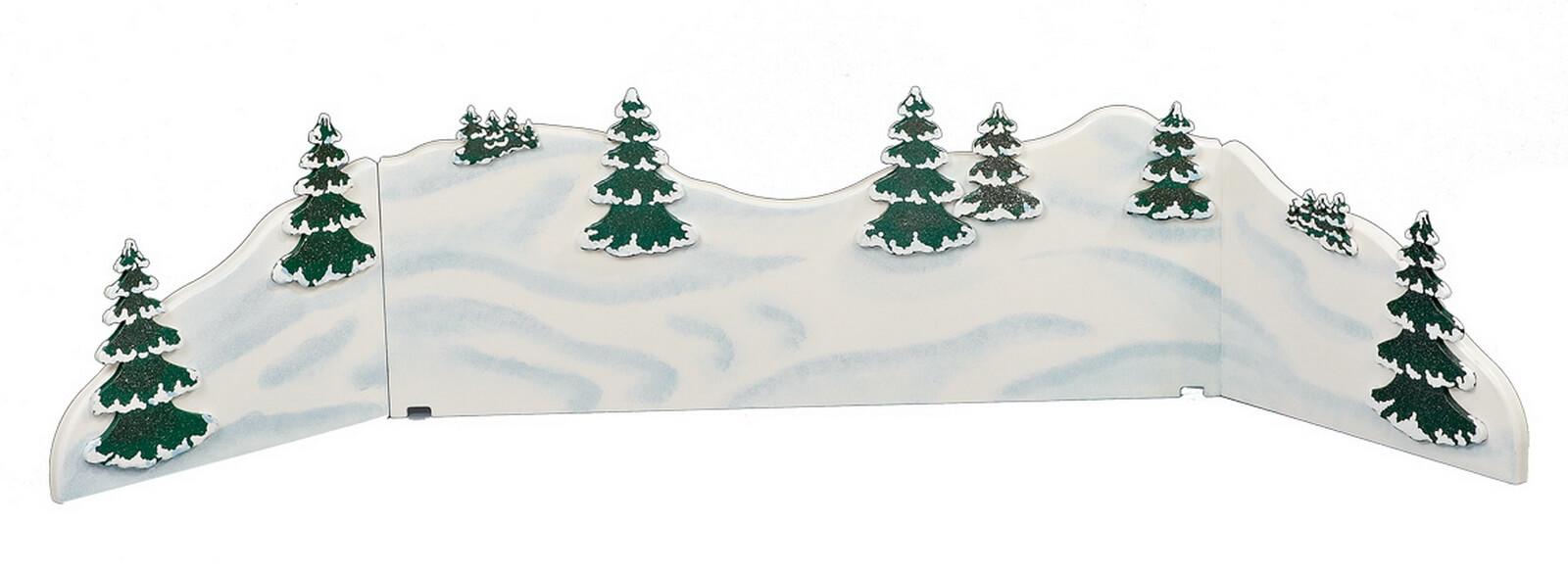 Winterlandschaft weiß, aus Holz mit mehreren Bäumen von Hubrig