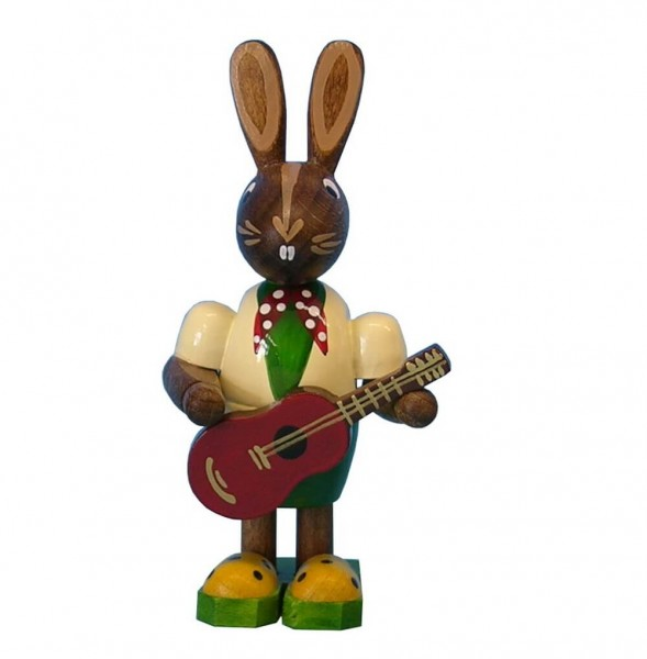 Osterhasenjunge mit Gitarre, 7 cm, Frieder & André Uhlig Seiffen/ Erzgebirge