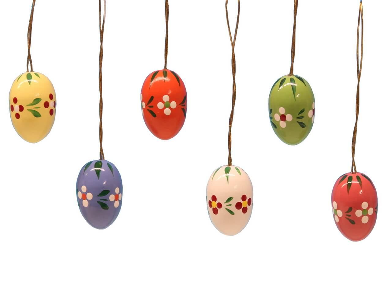 Ostereier mit Punkten und Blumen, 6 Stück, handbemalt, 6 verschiedene Farben im Satz, 2,1 cm von Frieder & André Uhlig Seiffen/ Erzgebirge