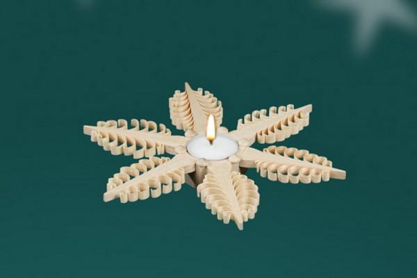 Weihnachtskerzenhalter für Teelichter, 21,5 x 2,5 x 21,5 cm von Martina Rudolph aus Seiffen/ Erzgebirge