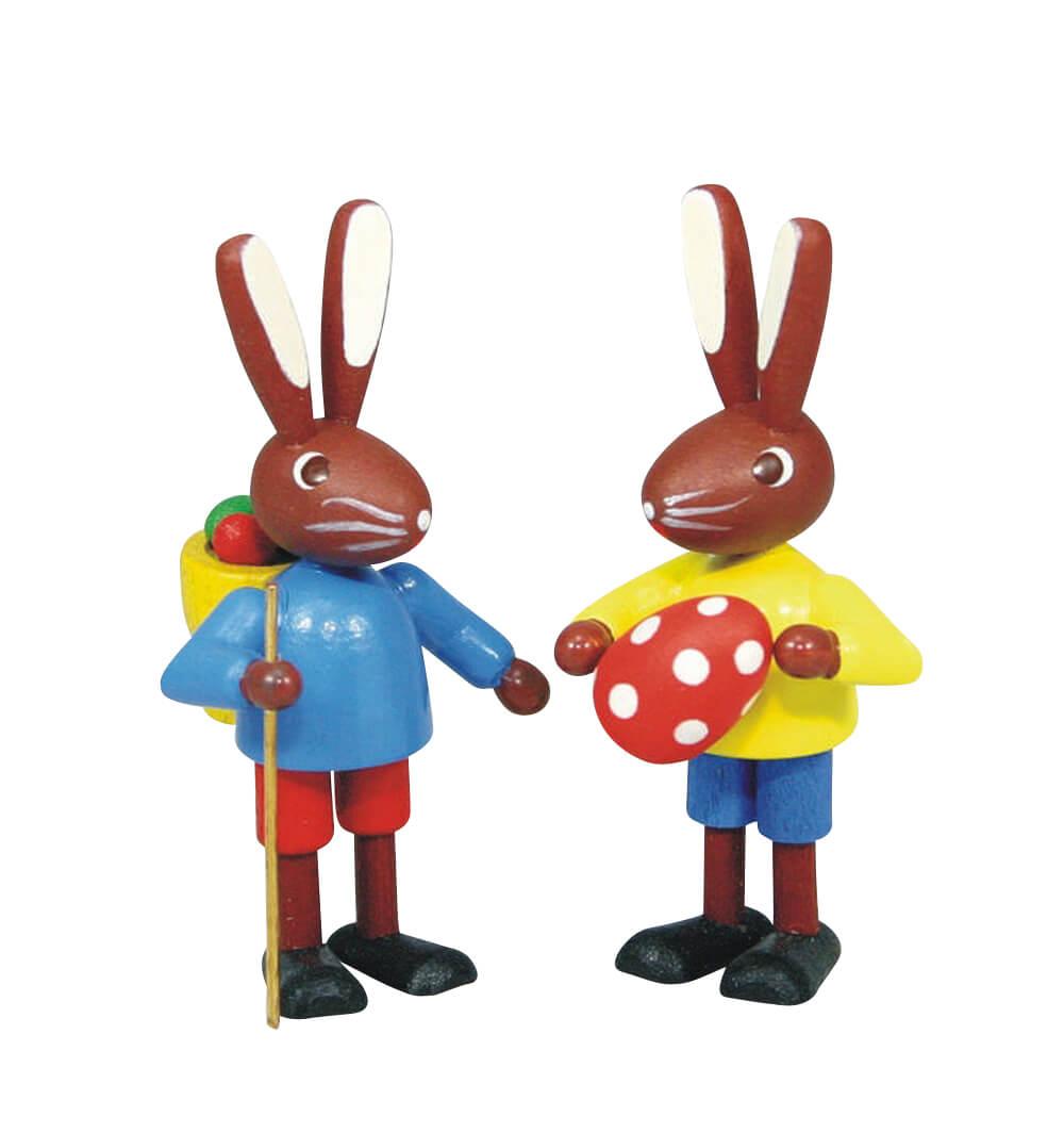 Osterhasenpaar Kinder, bunt, 6 cm, Stephan Kaden holz.kunst Seiffen/Erzgebirge