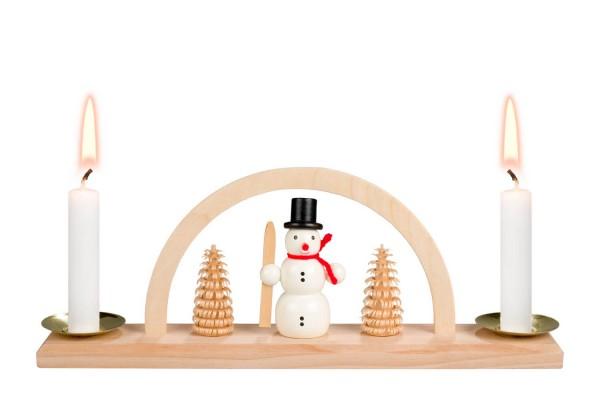 Minischwibbogen von Nestler-Seiffen mit Schneemann für Wachskerzen _Bild1