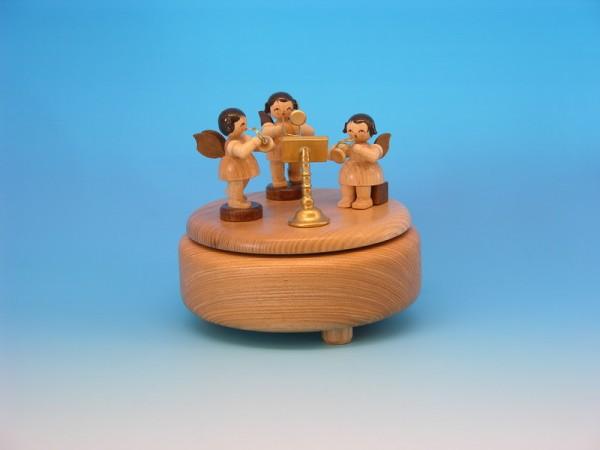 Spieluhr & Spieldose mit 3 Weihnachtsengel, natur, 13,0 x 13,0 x 12,0 cm, Frieder & André Uhlig Seiffen/ Erzgebirge