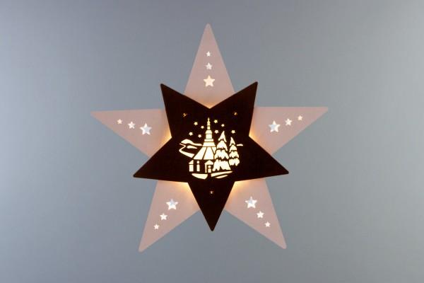 Weihnachtlicher Fensterschmuck & beleuchtetes LED Fensterbild Stern Seiffener Kirche weiß/braun, elektrisch beleuchtet, 30 x 29 x 6 cm von Weigla - Günter …