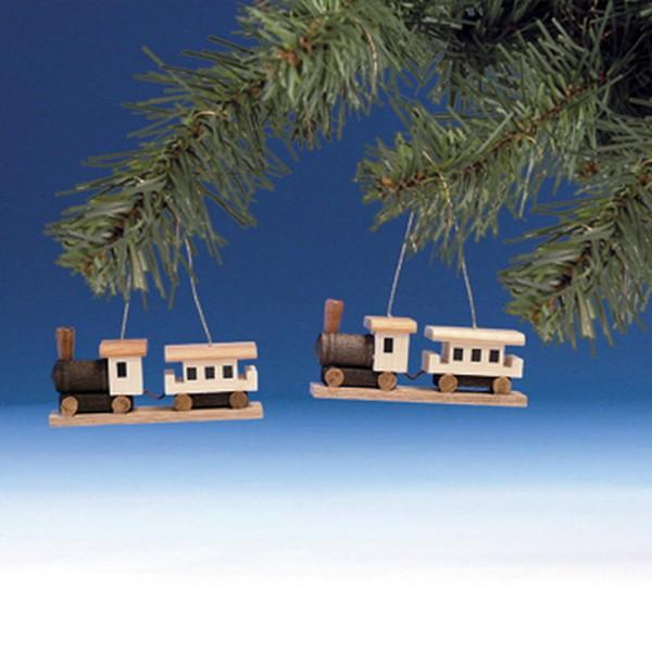 Baumbehang & Christbaumschmuck Eisenbahn, 2 Stück, 3,5 cm, Knuth Neuber Seiffen/ Erzgebirge