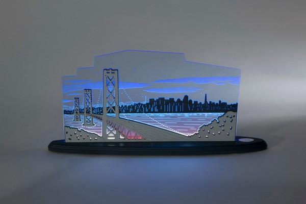"""LED Motivleuchte San Francisco von Weigla - Günter Gläser Deutschneudorf/ Erzgebirge Die Motivleuchte """"San Francisco Ausblick"""" besteht aus bläulich …"""
