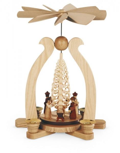 Weihnachtspyramide & Bogenpyramide Christi Geburt, natur, 22 x 15 x 29 cm, Müller GmbH Kleinkunst aus dem Erzgebirge