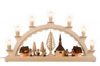 Vorschau: Schwibbogen von Nestler-Seiffen mit dem Motiv Seiffener Dorf mit Romy Thiel Kinder, komplett elektrisch beleuchtet_Bild1