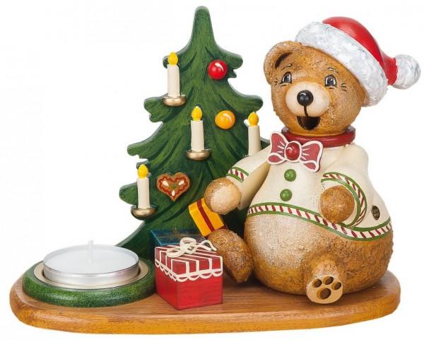 Räuchermännchen Teddys Weihnachtsgeschenke mit Teelicht von Hubrig Volkskunst GmbH Zschorlau/ Erzgebirge ist 14 cm groß.
