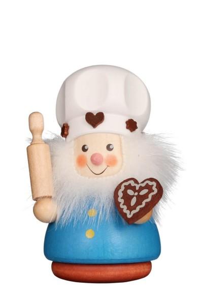 Wackelmännchen Zuckerbäcker, 8 cm, farbig von Christian Ulbricht GmbH & Co KG aus Seiffen im Erzgebirge. Stolz präsentiert er das Lebkuchenherz, das er …