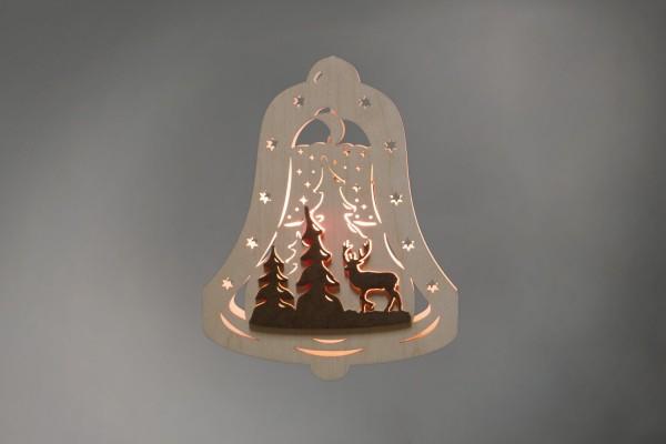 Weihnachtlicher Fensterschmuck & beleuchtetes Fensterbild Glocke Waldmotiv, elektrisch beleuchtet von Weigla - Günter Gläser Deutschneudorf/ Erzgebirge …