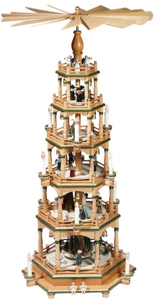 KWO Pyramide Motiv Weihnachtsgeschichte, natur - grün, 106 cm elektrisch beleuchtet und angetrieben