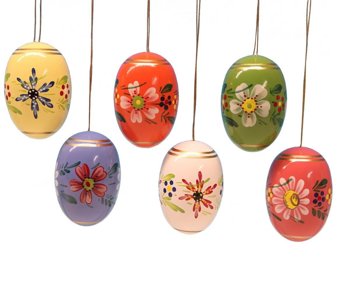 Ostereier mit Blumen, 6 Stück, handbemalt, 6 verschiedene Farben im Satz, 5,5 cm von Frieder & André Uhlig Seiffen/ Erzgebirge