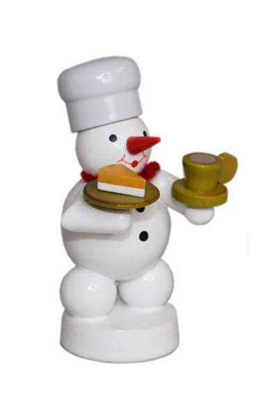 Schneemann Bäcker mit Kaffee und Kuchen, farbig, 8 cm von Volker Zenker aus Seiffen