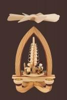 Vorschau: Weihnachtspyramide mit Weihnachtsmotiv (4,5 cm), natur, 28 cm hergestellt von Heinz Lorenz Olbernhau/ Erzgebirge_Bild2
