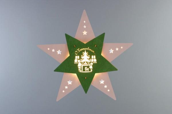 Weihnachtlicher Fensterschmuck & beleuchtetes LED Fensterbild Stern Oh Tannenbaum weiß/grün, elektrisch beleuchtet, 30 x 29 x 6 cm von Weigla - Günter …