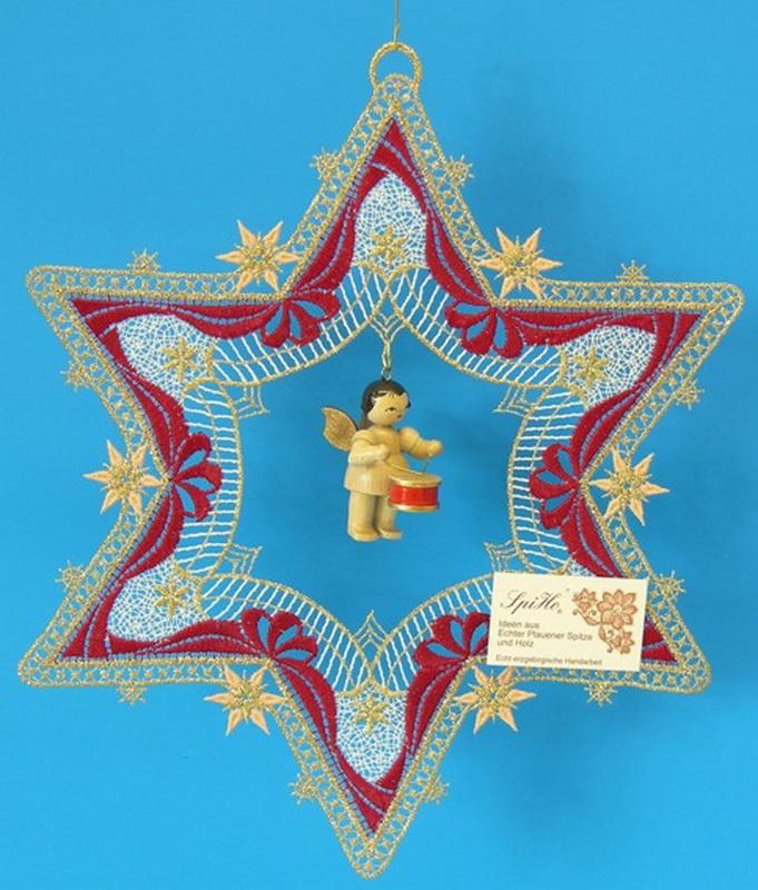 Fensterbild Plauener Spitze Stern, rot und Weihnachtsengel mit Trommel, natur, 26 x 26 cm, Frieder & André Uhlig Seiffen/ Erzgebirge