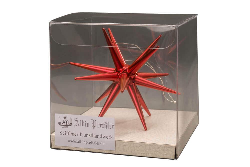 Albin Preißler, Christbaumschmuck aus Holz, Weihnachtsstern rot-metallic