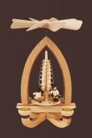 Vorschau: Weihnachtspyramide mit Winterkinder (4,5 cm), natur, 28 cm hergestellt von Heinz Lorenz Olbernhau/ Erzgebirg_Bild2