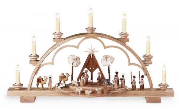 Schwibbogen Heilige Geschichte, elektrisch beleuchtet, natur (230V 50Hz), 64 x 13 x 35 cm, Müller GmbH Kleinkunst aus dem Erzgebirge