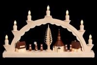 Vorschau: Schwibbogen mit dem Motiv Seiffener Dorf mit Kurrende, komplett elektrisch beleuchtet von Nestler-Seiffen_Bild2