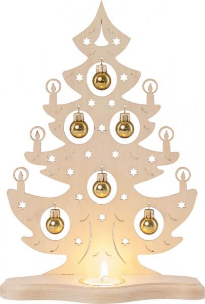 Weigla Teelichthalter Weihnachtsbaum mit goldenen Kugeln