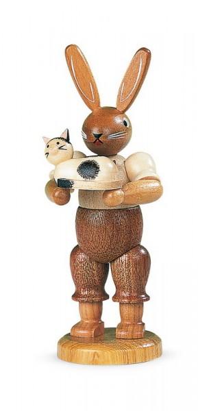 Osterhase von Müller Kleinkunst mit Katze, natur aus Holz