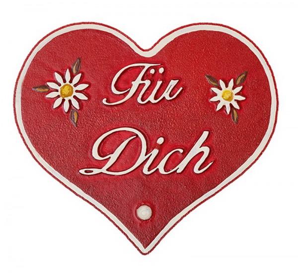 Magnetpin Herzen - Für Dich, 7 cm von Hubrig Volkskunst Zschorlau/ Erzgebirge