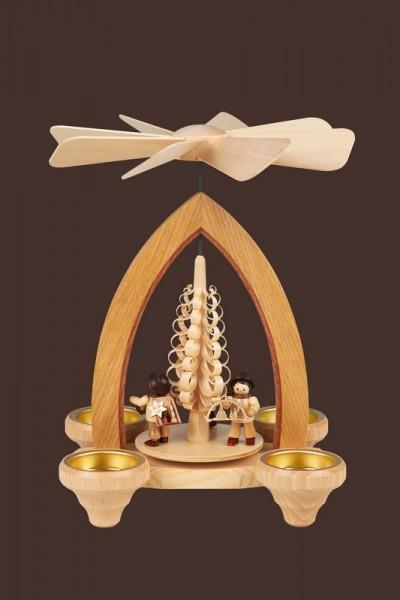 Weihnachtspyramide & Tischpyramide Handelsleute für Teelichter, 24 cm, Heinz Lorenz Olbernhau/ Erzgebirge
