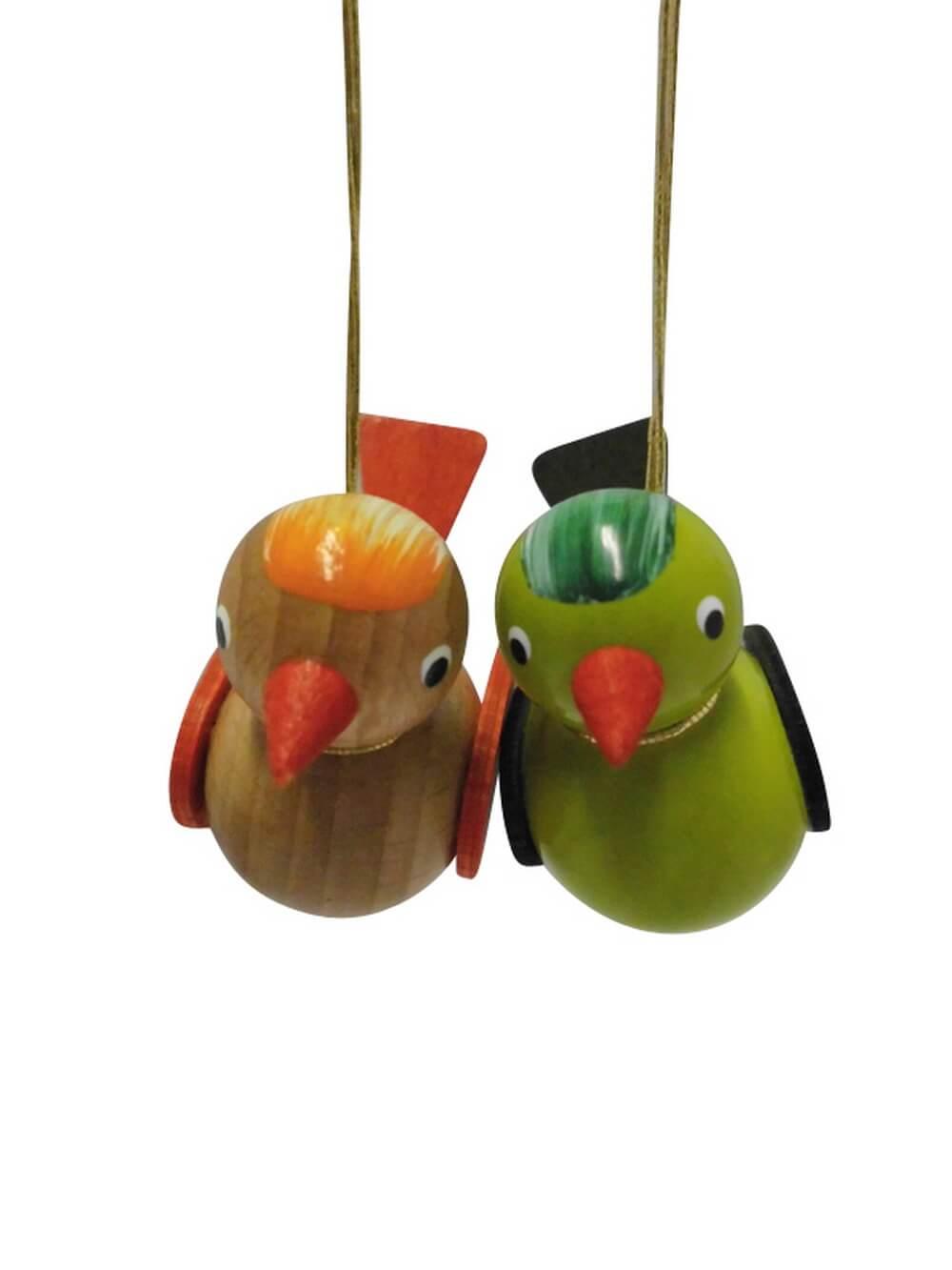 Vögel zum hängen, farbig, grün/ braun, 2 Stück, 5 x 4 cm, Nestler-Seiffen.com OHG Seiffen/ Erzgebirge