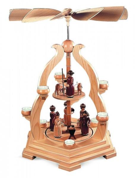 Bogenpyramide Heilige Geschichte, 1- stöckig, natur, 65 cm, Müller Kleinkunst aus dem Erzgebirge_Bild1