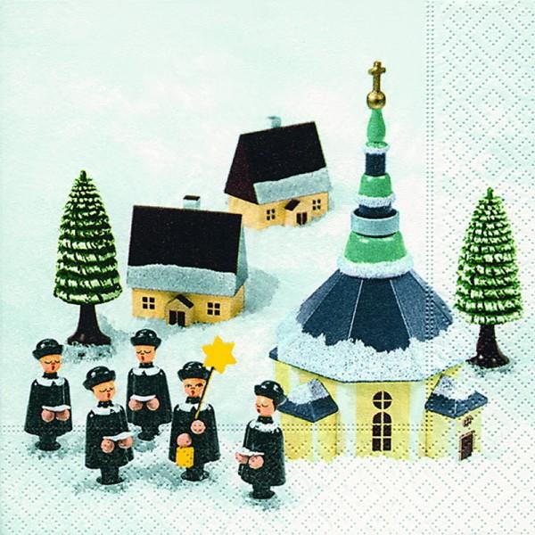 Weihnachtsservietten mit Seiffener Kirchemotiv, 20 Stück, 3 - lagig, 33 x 33 cm