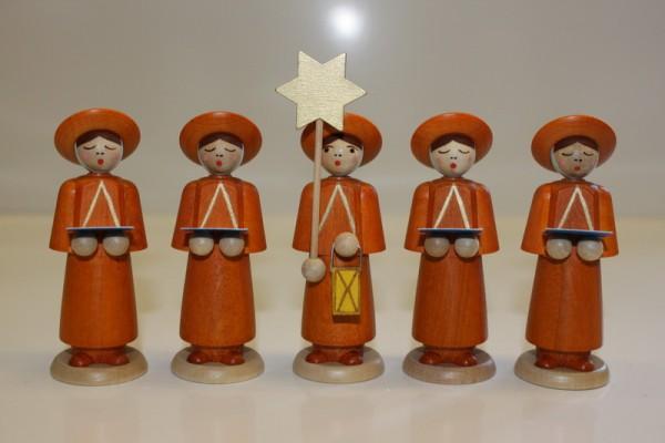 Weihnachtsfiguren Kurrendekinder, 5 Stück, natur, 9 cm, Nestler-Seiffen.com OHG Seiffen/ Erzgebirge