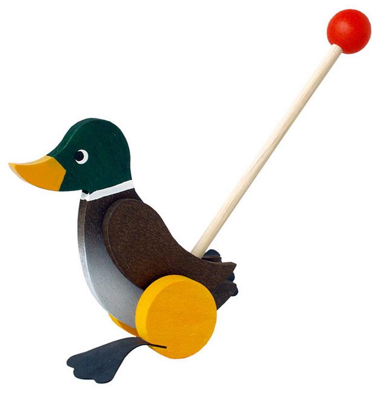 Eine tolle Mini- Ente für den Spielspaß zu Hause. Beim Anschieben watschelt der lustige Gefährte bei jeder Umdrehung der Räder mit den Füßen. Durch die …