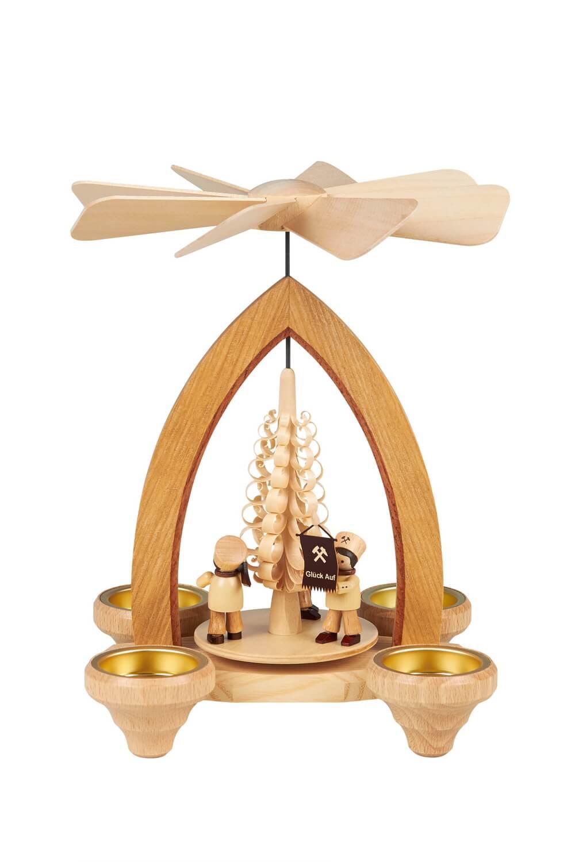 Weihnachtspyramide Bergmannszug für Teelichter, 26 cm hergestellt von Heinz Lorenz Olbernhau/ Erzgebirge_Bild1