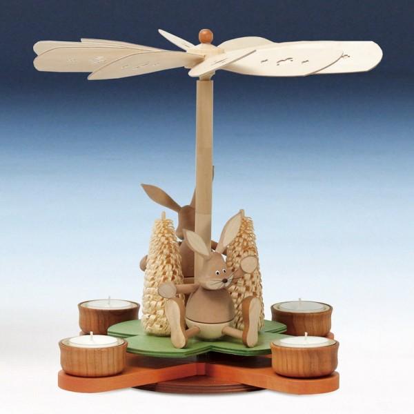 Glückskleeosterpyramide Osterhasen, natur, 29 cm von Knuth Neuber Seiffen/ Erzgebirge