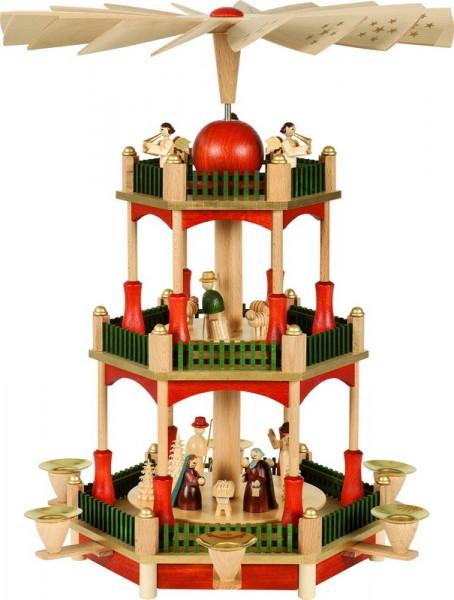 Weihnachtspyramide Christi Geburt, 2 - stöckig, 39 cm, Richard Glässer GmbH Seiffen/ Erzgebirge