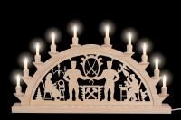Vorschau: Schwibbogen mit Schwarzenberger Motiv elektrisch beleuchtet mit 10 Kleinschaftkerzen von Nestler-Seiffen_Bild2