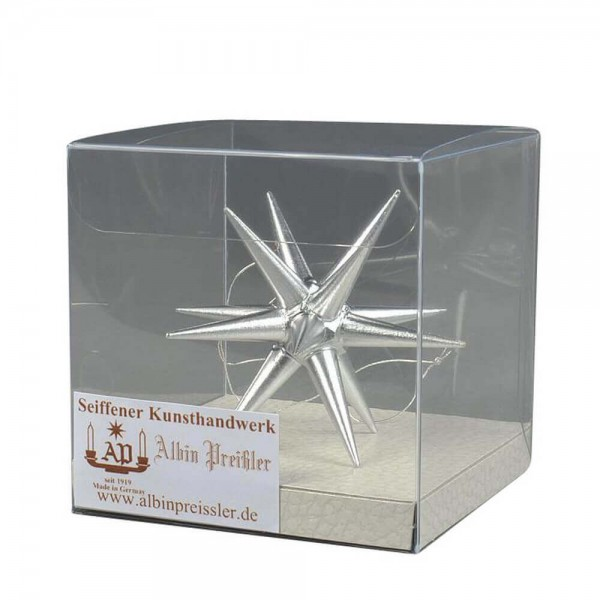 Christbaumschmuck Weihnachtsstern silber, 7 cm hergestellt von Albin Preißler