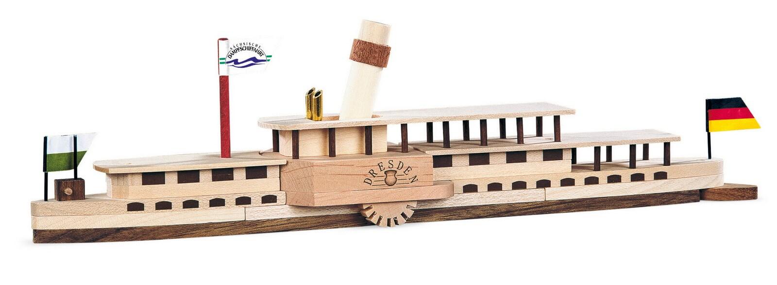 Naturholzbausatz Elbdampfschiff Dresden von Müller Kleinkunst aus Seiffen