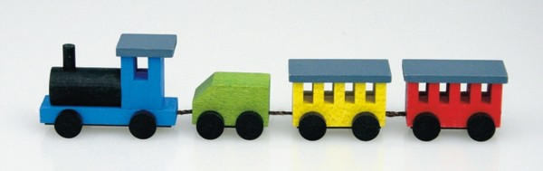 Bei dieser bunten Mini - Holzeisenbahn, vonStephan Kaden holz.kunst Seiffen/Erzgebirge, gibt die Lok gibt den Antrieb, während sie den grünen Tender …