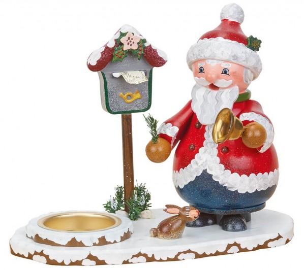 Räuchermännchen Weihnachtsmann mit Teelicht von Hubrig Volkskunst GmbH Zschorlau/ Erzgebirge ist 16 x 15 cm groß.