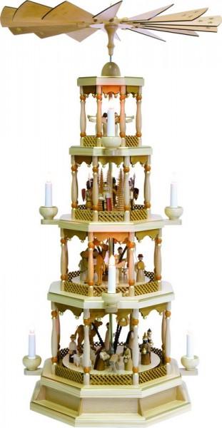 Weihnachtspyramide Christi Geburt, 4 - stöckig, natur, elektrisch angetrieben und beleuchtet mit Spielwerk, 100 cm hoch, Richard Glässer GmbH Seiffen/ …