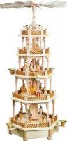 Vorschau: Weihnachtspyramide Christi Geburt, 4 - stöckig mit Spielwerk, Melodie: Stille Nacht, 70 cm, Richard Glässer GmbH Seiffen/ Erzgebirge