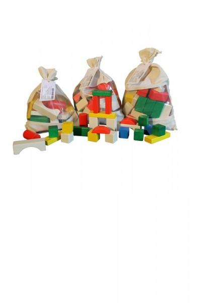 Baubeutel mit 30 Holzbausteine, farbig (2,9 cm), farbig, Spielalter ab 3 Jahre, Erzgebirgische Holzspielwaren Ebert GmbH Olbernhau/ Erzgebirge