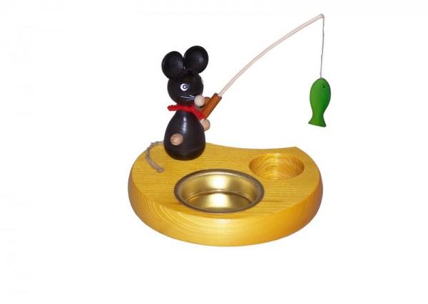 Kerzenhalter & Teelichthalter Maus mit Angel, 6 cm von Volker Zenker Seiffen/ Erzgebirge